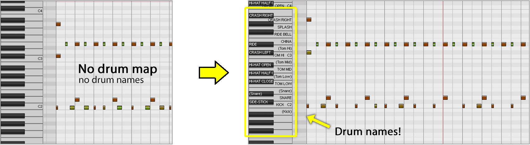 Reaper Note Names - How to load a Drum Map