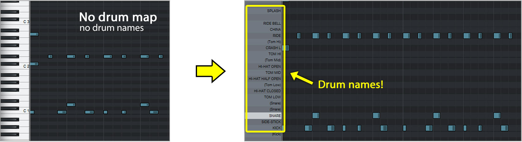 Studio One Pitch Names - How to load a Drum Map